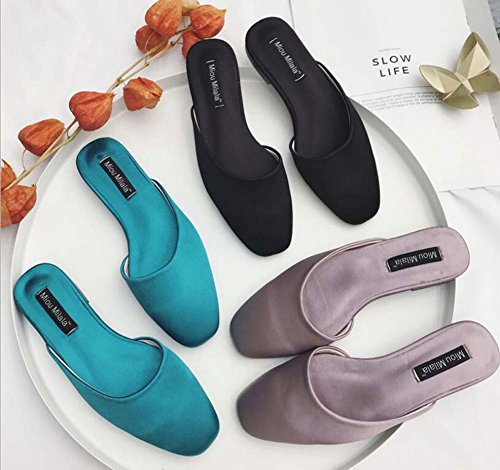 Shoes Shoes Eu Onfly Cool Toe Slippers Size Flat Women Mules OL Color Blue Pump Pure Roma Casual Dress Close Shoes Heel 34 42 Shoes Court qqHf7R