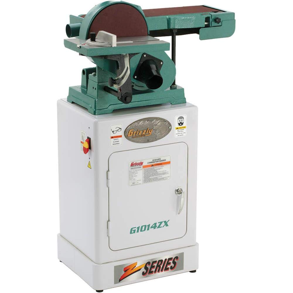 """Grizzly Industrial G1014ZX - 6"""" x 48"""" Belt/9"""" Disc Combo Sander with Cabinet Stand"""