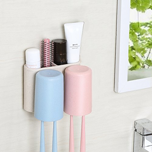 Loyogames Toothbrush Holder Wall Mount Natural Wheat Straw A