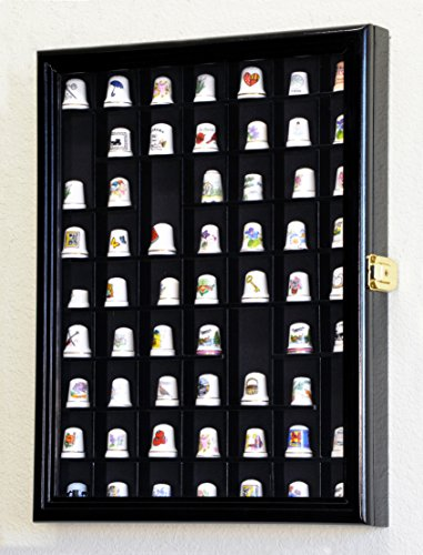 59 Opening Thimble / Small Miniature Display Case Cabinet Holder Wall Rack 98%UV Lockable, Black (Small Miniature Cabinet)