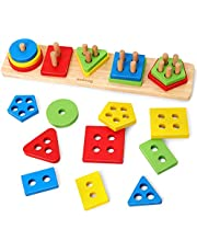 Coogam Wooden Sorting Stacking Toys, Shape Color Recognition Blocks Matching Puzzle Stacker Montessori Geometric Board Early Educational Puzzles for Years Old Boys and Girls
