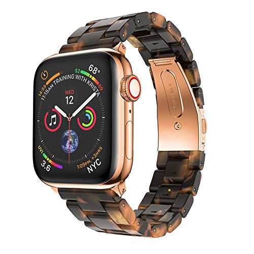Nargar Band for Apple Watch Series 4/3/2/1 40mm Tortoise Shell Resin Loop Bracelet Strap Durable Multicolor Sport Wristband Quick Release Replacement with Metal Double Folding Buckle (Multicolor)