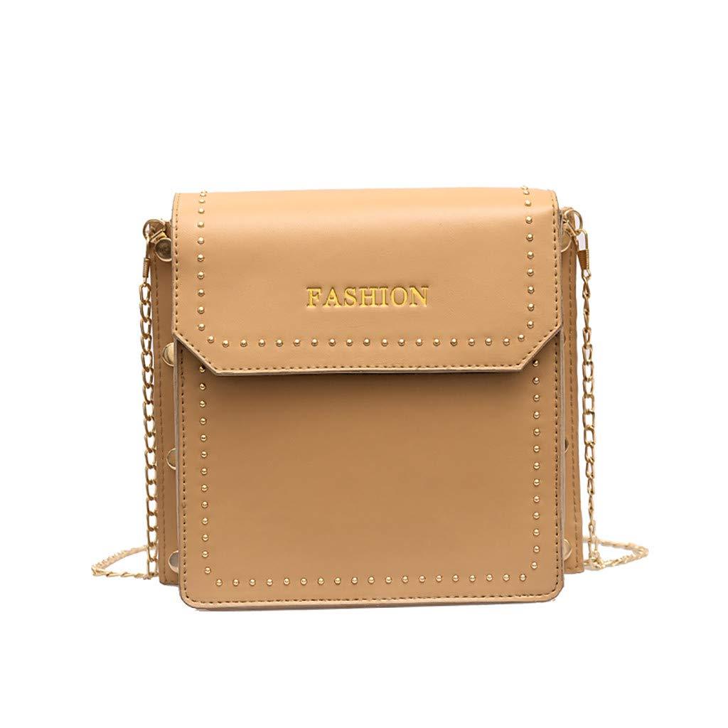 Bags for Women,Backpack Purse Diaper Bag,Women Rivet Simple Versatile Messenger Bag Small Square Bag Khaki