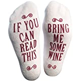 Luxury Combed Cotton Bring Me Some Wine Novelty Socks - Perfect Hostess or Housewarming Gift Idea for Women, Unisex White Elephant Gift Idea for a Wine Lover, Birthday Present, Mother's Day Gift