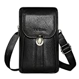 Premium Genuine Cowhide Leather Purse For iPhone 8 Plus iPhone 7 Plus Holster Pouch Waist Bag Shoulder Bag Small Messenger Bag Cell phone Crossbody Purse For iPhone 6 Plus Samsng LG Phones