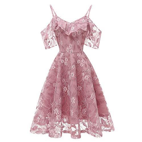 DEATU Princess Lace Dress Women Vintage Floral Cute Lace Cocktail Neckline Ladies Party Aline Swing Sleeveless Dress(Pink,XL)