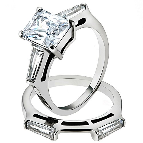[4.45 Ct Emerald Cut Zirconia Stainless Steel Engagement Wedding Ring Set Size 7] (Emerald Cut Cubic Zirconia Ring)