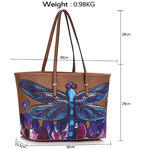 Large Dragonfly Leather Shoulder Nude Tote London Ladies Faux Designer Bag Handbag Travel Floral Women Xardi UZwa6q5W