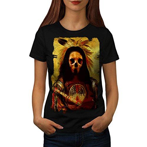 [Skull Indian Soldier Costume Women NEW Black L T-shirt | Wellcoda] (Mayan Warrior Costumes)