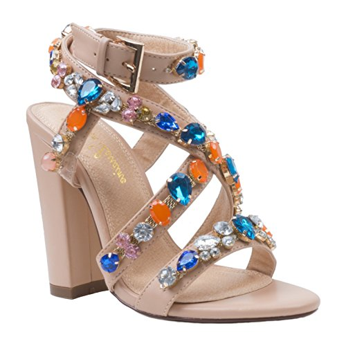 Lauren Lorraine Larissa Nude Big Embellished Jeweled Strappy High Heel Sandal Nude Size - Heel Jeweled High