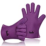 OUTU 1 Pair Silicone Heat Resistant Five Fingers Ultra flex Kitchen Glove BBQ Grill Oven Gloves (Purple)