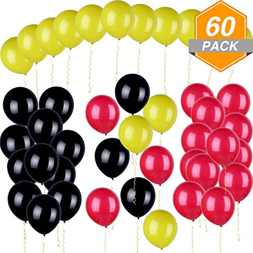 Gejoy 60 Pieces Mickey Color Latex Balloons Red
