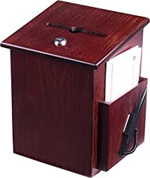 Wood Suggestion Box, Ballot Box with Pocket, Locking Hinged Lid and Pen for Wall or Countertop - Red Mahogany (Ballots Not Included)