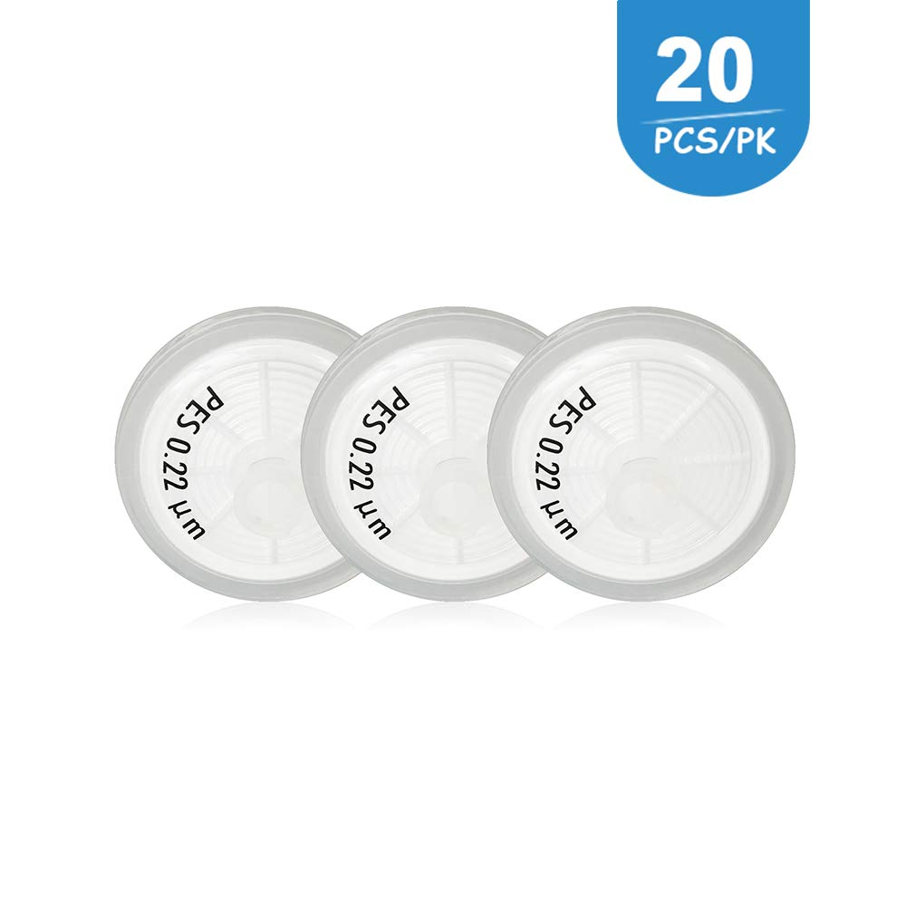 Syringe Filters PES (Polyethersulfone) Diameter 25mm Pore Size 0.22 μm Laboratory Supplies by Allpure Biotechnology (PES, Pack of 20) by ALLPURE