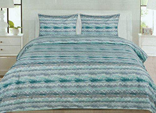 1500 Supreme Collection Extra Soft Summerset Ocean Vibe Chevron Pattern Sheet Set, Queen - Luxury Bed Sheets Set With Deep Pocket Wrinkle Free Hypoallergenic Bedding, Trending Printed Pattern, Queen (Teal Bedding Colored Sets)