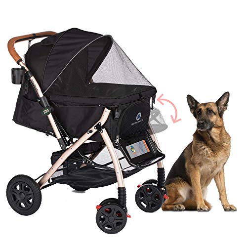 HPZ Pet Rover XL Extra-Long Premium Heavy Duty Dog/Cat/Pet Stroller Travel Carriage with Convertible Compartment/Zipperless Entry/Pump-Free Rubber Tires for Small, Medium, Large Pets (Black) (Best Large Dog Stroller)