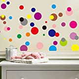 Set of 120 Removable Vinyl Colorful Multi Color Polka Dot Wall Decor Decal DIY Home Decoration art Graphic Decals Nursery room Stickers Just Peel and Stick for Bedroom Living room Bathroom (Dots)