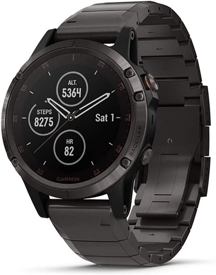 Garmin fēnix 5 Plus, Premium Multisport GPS Smartwatch, features Color Topo Maps, Heart Rate Monitoring, Music and Pay, Carbon Gray Titanium