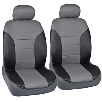 Motor Trend Black Gray Two Tone PU Leather Car Seat Covers