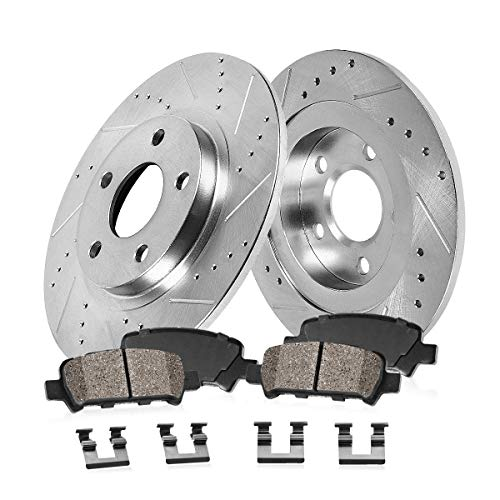 Callahan CDS02342 REAR 329.95mm D/S 5 Lug [4] Rotors + Ceramic Brake Pads + Hardware [ Edge Explorer Flex Taurus ]