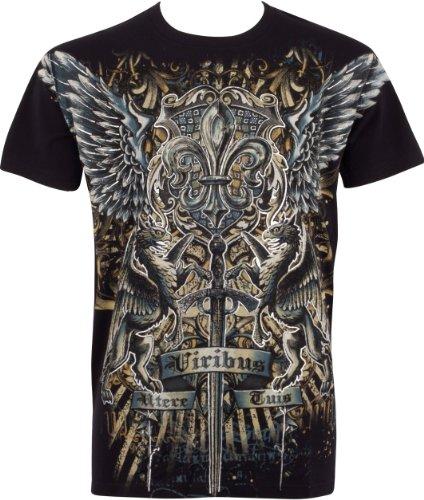 Goffrato T shirt Mens Cotone Metallizzato Moda Nero Sakkas Argento Spada E Griffin TpwqHXUZ