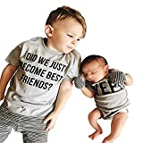Dear customers,welcome to our store,we have carefully measured the sizeof your clothes so that you can choose the right size for your handsome boy. The size of BIG BROTHER T-shirt printed 'DID WE JUST BECOME BEST FRIEND?'  💘Size: 6-12Months Clothes L...