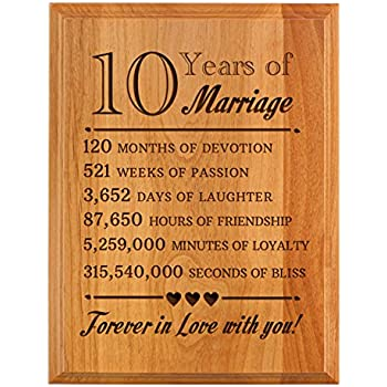 Amazon.com: 10th Wedding Anniversary Wall Plaque Gifts for Couple ...
