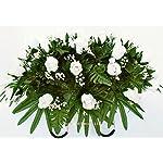 White-rose-cemetery-saddleCemetery-ArrangementGraveside-DecorationsHeadstone-SaddleSaddle-ArrangementSympathy-FlowersGrave-decorCemetery-Flower-Service-Subscriptioncemetery-saddle