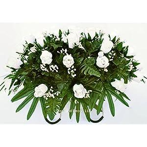White rose cemetery saddle~Cemetery Arrangement~Graveside Decorations~Headstone Saddle~Saddle Arrangement~Sympathy Flowers~Grave decor~Cemetery Flower Service Subscription~cemetery saddle 5