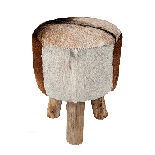 Shabby Chic Urban Casual Natural Brown-Tone Cowhide Drum Ottoman by Crafted Home