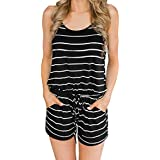Saifeier Women Sexy Strap Backless Summer Beach Party Romper Jumpsuit(Black,M)
