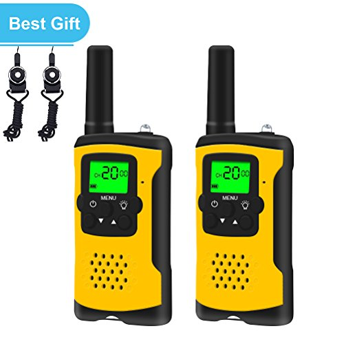 Walkies Talkies for Kids, 22 Channels FRS/GMRS UHF Two Way Radios 4 Miles Handheld Mini Kids Walkie Talkies for Boys Girls Best Gifts Kids Toys Built in Flashlight, Yellow by E-wor