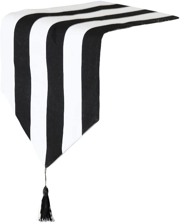Tong Yue Western Classic Black and White Striped Table Runner for Home Decor,12x63