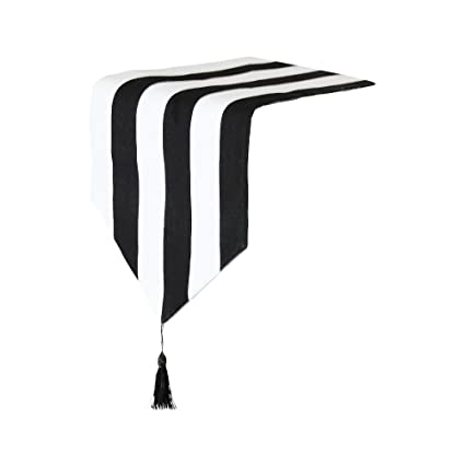 Amazon Com Western Classic Black And White Striped Table Runner For
