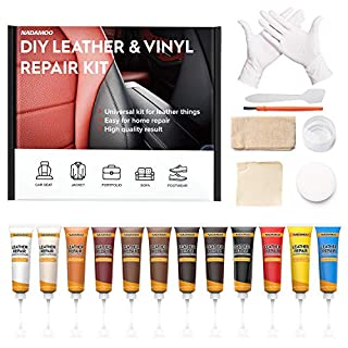Leather Repair Kit for Couches, Vinyl Repair Kit for Furniture, Car Seats, Sofa, Jacket, Purse, Belt, Shoes, Boat - Scratch Filler Leather Care DIY Leather Fix Kit Repairs Tears Burn Holes