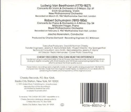Beethoven: Concerto for Violin & Orchestra / Schumann: Concerto for Piano & Orchestra