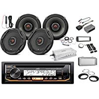 JVC Marine CD Bluetooth Receiver w/ Dash Kit & Weathershield, 4x JBL 6.5 2-Way GX Series Coaxial Speakers - Bulk Packaging w/ Adapters, Harley Handlebar Interface, Enrock Amplifier w/ Kit, Antenna