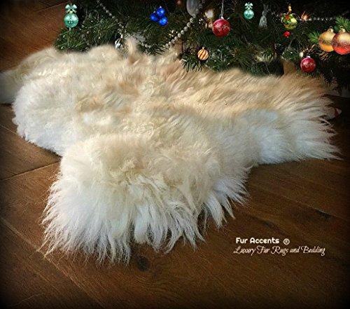 White Shag Icelandic Sheepskin Rug - Christmas Tree Skirt Throw - Luxury Faux Fur Thick - 100% Animal Friendly - Fur Accents - USA (2'x4', Ivory Off White) (Skirt Tree Sheepskin)