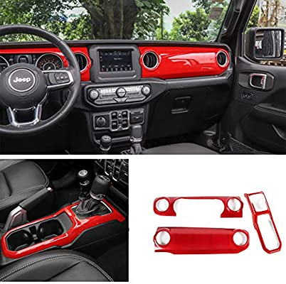 For Jeep Wrangler JL 2018 2019 Red Dashboard Console Air AC Vent Outlet Trim
