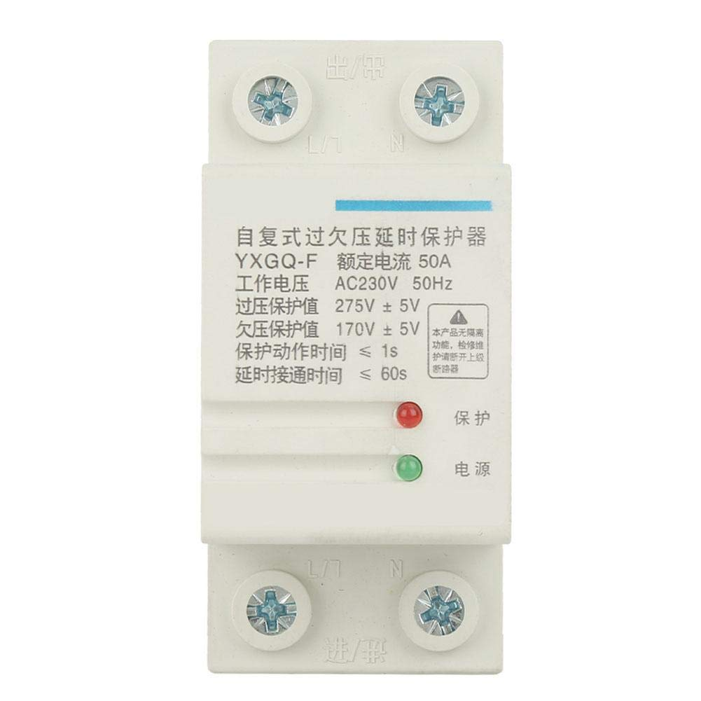 Voltage Protective Device 2P 50A YXGQ-F Automatic Recovery Over /& Under Voltage Relay Protective Device