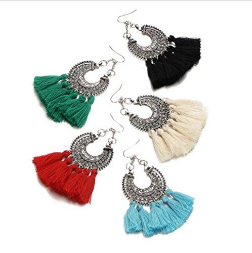 Bohemian Woven U-Shaped Flower Tassel Earrings Cashmere Handmade Earrings,Black by PG-kisseller (Image #2)