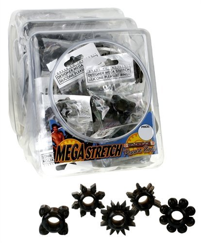 Pipedream Products Mega Stretch Silicone Pleasure Ring - Black - 72pc Bowl by Pipedream Products (Image #1)