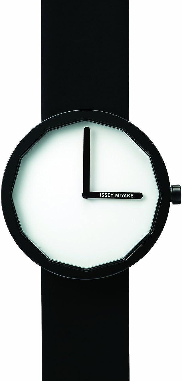 Issey Miyake Twelve White Dial Black Leather Mens Watch SILAP002