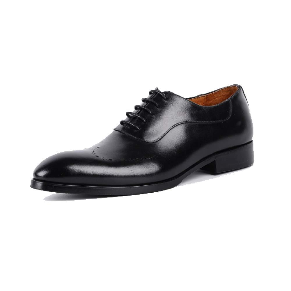 Zapatos De Cuero De Hombres Acentuados Zapatos De Inglaterra Zapatos Bajos De Europa Y América Moda Atmosférica Vestible De Negocios 41 EU Black