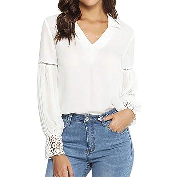8f3d76a2dd7b46 Ansenesna Shirt Damen Herbst Weiss Spitze Langarm Elegant Tops Bluse  Mädchen Unifarben Vintage Slim Fit Für