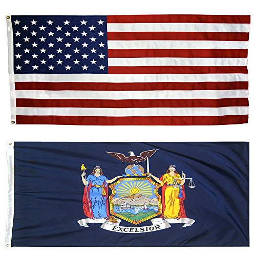 US Flag with New York State Flag 3 x 5 - 100% American Made