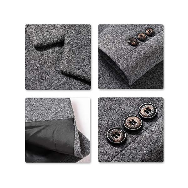 Sliktaa Homme Manteau Laine Hivers Mi-Long Boutonnage Slim Fit Affaires Casual A La Mode Epais Couleur Unie Outerwear 8…