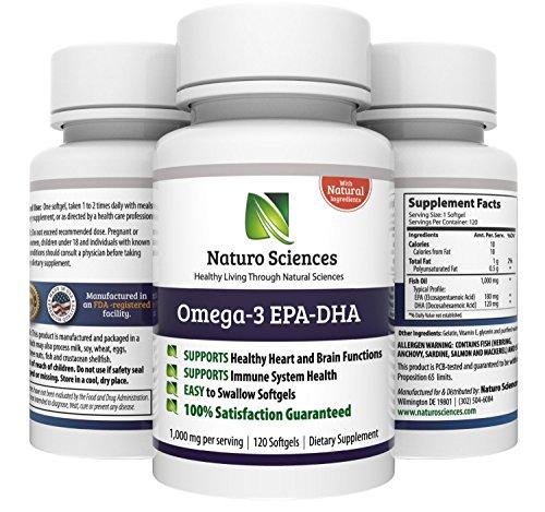 Omega 3 huile de poisson par les sciences Naturo - contient une forte concentration de DHA et EPA - Grande pour le maintien de la santé cardiovasculaire - mixte sur la santé - Prend en charge la santé du cerveau - stimuler le système immunitaire - 1000mg