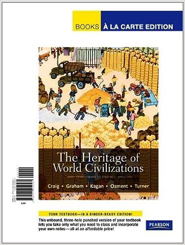 Amazon Com The Heritage Of World Civilizations Volume 2 Brief Edition Books A La Carte Edition 5th Edition 9780205052561 Craig Albert M Graham William A Kagan Donald M Ozment Steven Turner Frank M