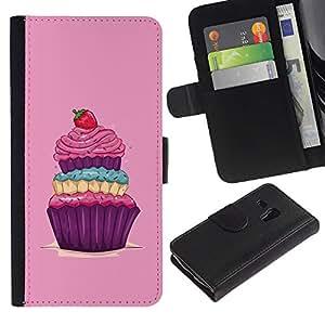 Paccase / Billetera de Cuero Caso del tirón Titular de la tarjeta Carcasa Funda para - Cupcake Sweets Sugar Drawing Vintage Berry - Samsung Galaxy S3 MINI NOT REGULAR! I8190 I8190N